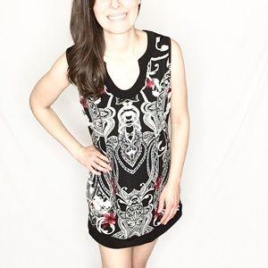 White House Black Market   B&W Brocade Print Dress